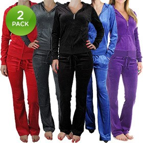 2-Pack Princess Fashion Women's Velour Tracksuit in Grey/Red ( Medium )