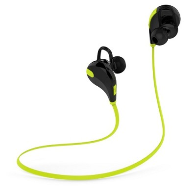 Jogger Lightweight Sports Bluetooth 4.1 Earbuds with Mic - Black/Neon Green