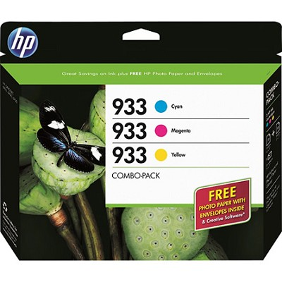 933 Combo-pack Tri-Color Officejet Ink Cartridges + Free Photo Paper