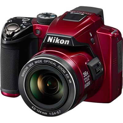 Coolpix P500 12MP Red Digital Camera w/ 36x Optical Zoom