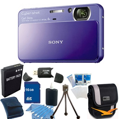Cyber-shot DSC-T110 Purple Touchscreen Digital Camera 16GB Bundle