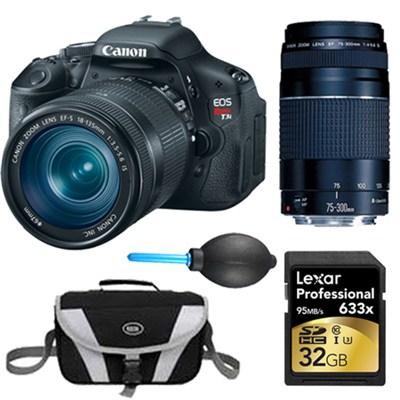 EOS Digital Rebel T3i 18MP SLR Camera 18-135mm & 75-300mm Instant Rebate Bundle