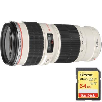 EF 70-200mm F/4.0 L USM Lens with Sandisk 64GB Memory Card