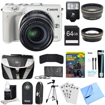 EOS M3 24.2MP White Mirrorless Camera EF-M 18-55mm STM Lens 64GB Deluxe Bundle