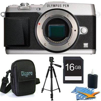 PEN E-P5 16MP Compact System Camera (Silver)(Body Only) 16 GB Memory Kit