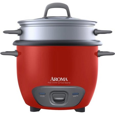 ARC-743-1NGR Pot Style 6-Cup Cooked Rice Cooker and Food Steamer- Red