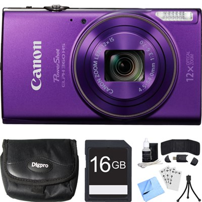 PowerShot ELPH 360 HS Purple Digital Camera w/ 12x Optical Zoom 16GB Card Bundle