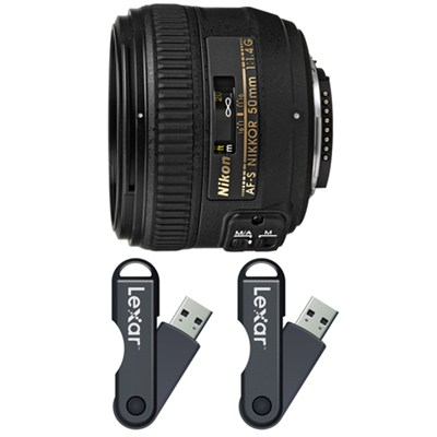 AF-S NIKKOR 50mm f/1.4G Lens 64GB USB Flash Drive 2-Pack Bundle