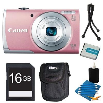 PowerShot A2600 Pink 16MP Digital Camera 16GB Bundle
