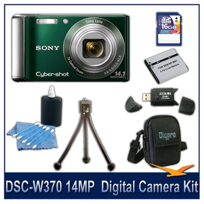 Cyber-shot DSC-W370 14MP Green Digital Camera   with 16GB Card, Case, and More