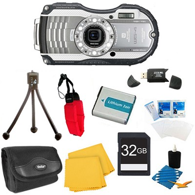 WG-4 16MP HD 1080p Waterproof Digital Camera Silver 32GB Kit
