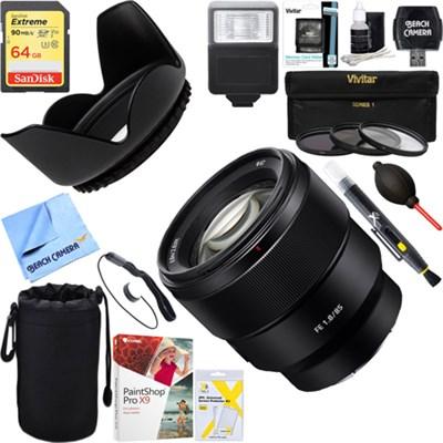 FE 85mm F1.8 Full-frame E-mount Fast Prime Lens + 64GB Ultimate Kit