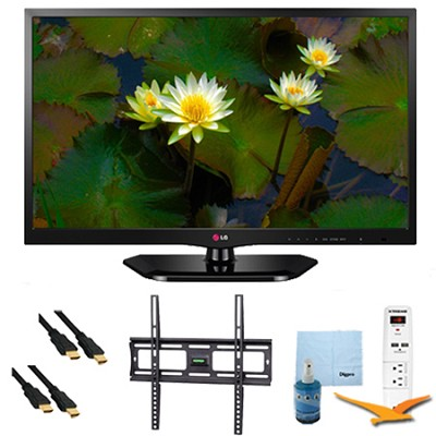 24-Inch 720p 60Hz EDGE LED HDTV Plus Mount & Hook-Up Bundle (24LB4510)