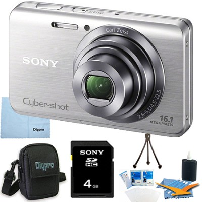 Cyber-shot DSC-W650 Silver 4GB Digital Camera Bundle