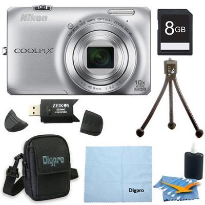 COOLPIX S6300 16MP 10x Opt Zoom 2.7 LCD Digital Camera 8GB Silver Bundle