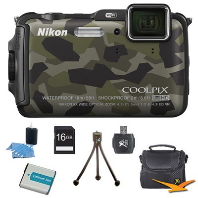COOLPIX AW120 16MP Waterproof Shockproof Freezeproof Camo Digital Camera Kit