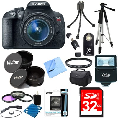EOS Rebel T5i 18MP DSLR Camera & EF-S 18-55mm IS STM Ultra 3 Lens Bundle + Flash
