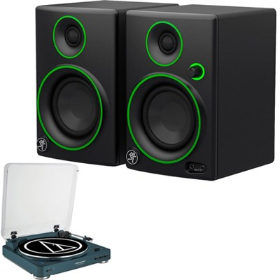 "Mackie CR3 3"" Creative Reference Multimedia Monitors Speakers (Pair) + Wireless Turntable"