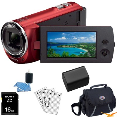 HDR-CX220/R Full HD Camcorder (Red) Essentials Bundle