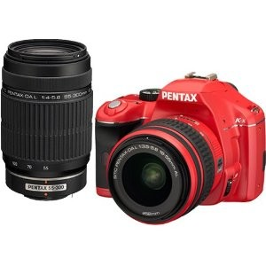 K-x Digital SLR Lens Kit w/ DA L 18-55mm and 55-300mm Lens (Red)