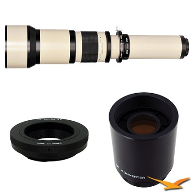 650-1300mm F8.0-F16.0 Zoom Lens for Canon EOS (White Body) Plus 2x Multiplier