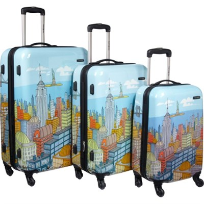 CityScapes NYC 3 Piece Premium 20`, 24`, 28` Spinner Luggage Set - OPEN BOX