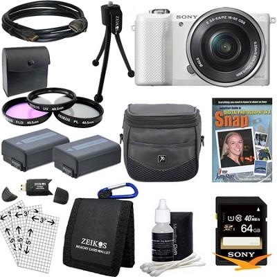 a5000 Compact Interchangeable Lens Camera White w 16-50mm Lens Essentials Bundle