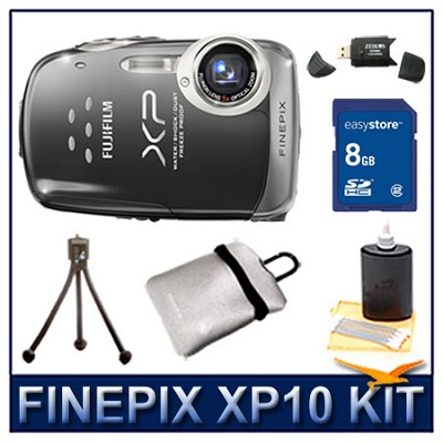 FINEPIX XP10 Black + 8GB Card + Card Reader + Case + Mini Tripod and More