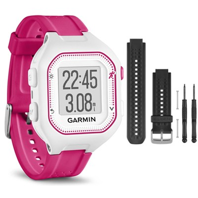 Forerunner 25 GPS Fitness Watch - Small - White/Pink - Black Band Bundle