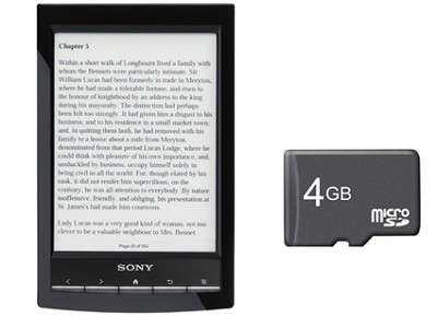 PRS-T1 6` Digital E-Ink Pearl eReader with Wi-Fi (Black) + 4GB Micro SD Card