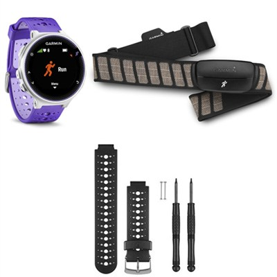 Forerunner 230 GPS Running Watch w/ Heart Rate Monitor - Black/White Band Bundle