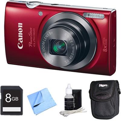 PowerShot ELPH 160 20MP 8x Opt Zoom HD Digital Camera - Red 8GB Bundle
