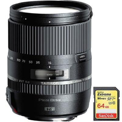 16-300mm f/3.5-6.3 Di II VC PZD MACRO Lens for Nikon Cameras w/ 64GB Memory Card