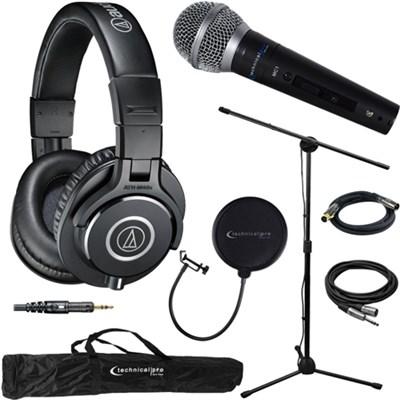 ATH-M40x Professional Studio Monitor Wired Headphone & Technical Pro Mic Bundle