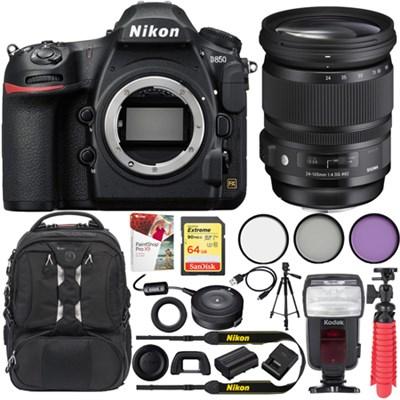 D850 45.7MP Full-Frame FX DSLR Camera w/ 24-105mm F/4 DG OS HSM ART Lens Kit