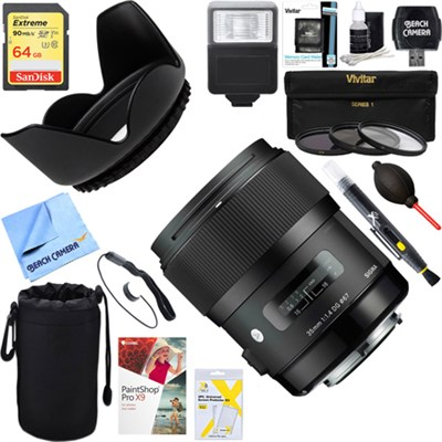 Art Wide-angle lens 35 mm F/1.4 DG HSM Canon EF + 64GB Ultimate Kit