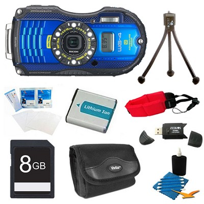 WG-4 GPS 16MP HD 1080p Waterproof Digital Camera Blue 8GB Kit