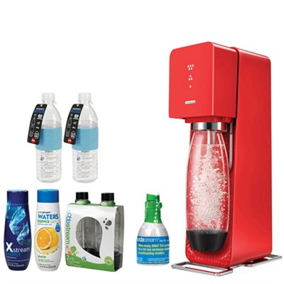 Source Home Soda Maker Starter Kit, Red with Bundle