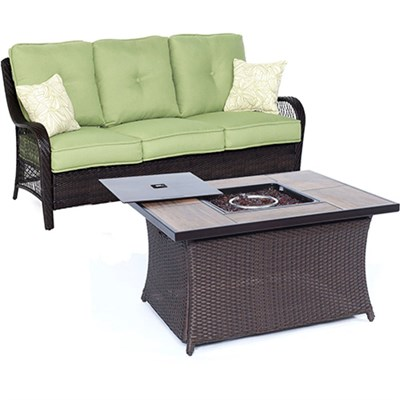 Orleans2pc FP Seating Set: Sofa Fire Pit Coffee Tbl w/Wood Grain Tile