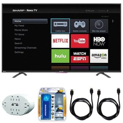 N4000 Full HD 32` Class WiFi Roku 60Hz LED Smart TV w/ Hook up Bundle