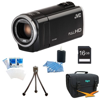 GZ-E100BUS - HD Everio Camcorder 40x Zoom f1.8 (Black) with 16GB Bundle