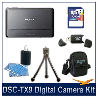Cyber-shot DSC-TX9 Digital Camera (Grey) with 8GB Card, Case, and More
