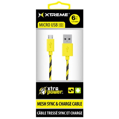 Mesh Sync & Charge 6ft Micro USB Cable (Yellow) - 92393