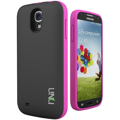 Unity Ultra-Slim 2600mAh Battery Case for Samsung Galaxy S4 - Black/Magenta