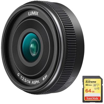 LUMIX G 14mm f/2.5 ASPH II Interchangeable Lens w/ 64GB Memory Card