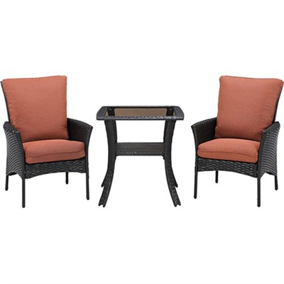 StrathAllure3pc Bistro Set: Sq Glass Top Bistro Table 4 Dining Chairs