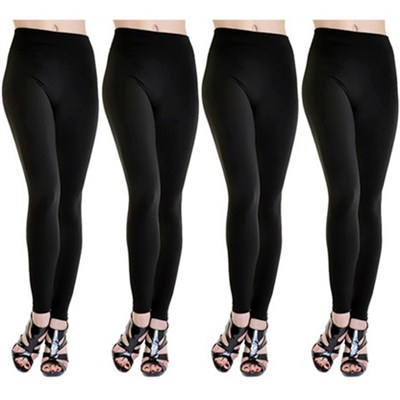 4-Pack Midnight Black Fleece Lined Leggings M/L
