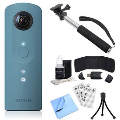 Theta SC 360 Degree Full HD Spherical Digital Camera Blue Bundle