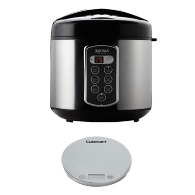 Professional 20 Cup Digital Rice Cooker/Food Steamer w/ Digital Kitchen Scale