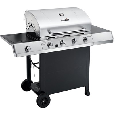 Classic 4-Burner Gas Grill w/ Side Burner - Stainless Steel & Electronic Igniter